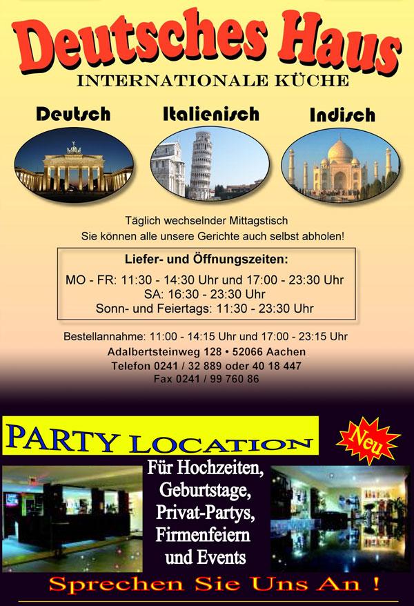 Deutsches Haus Aachen Internationale Küche
